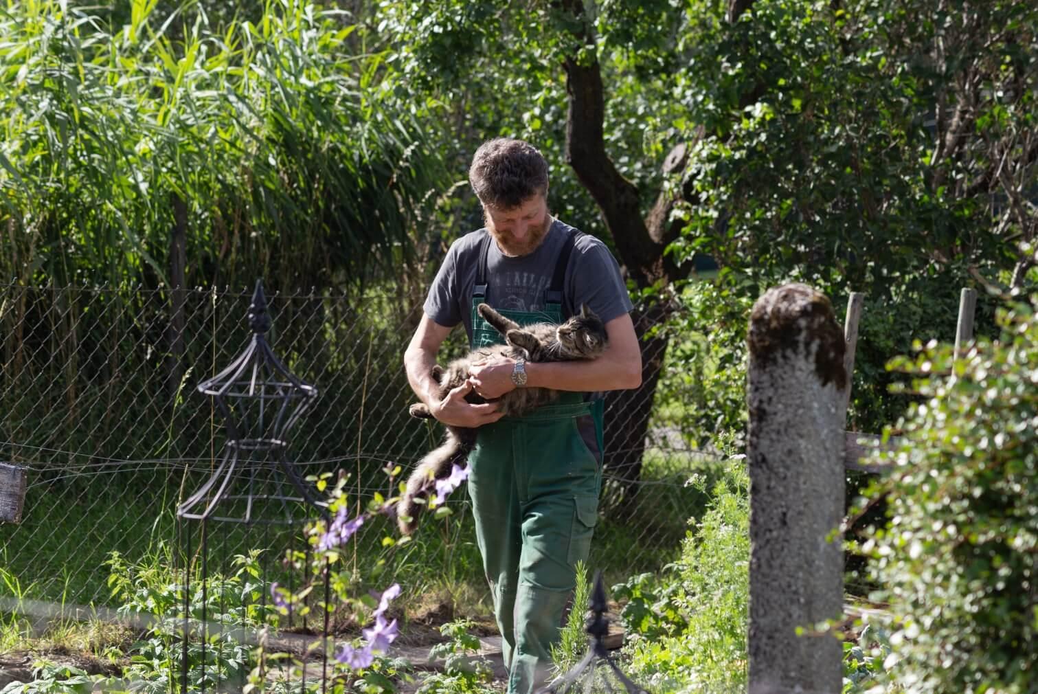 wonderful farmer with cat
